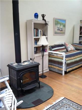 Provincetown Cape Cod vacation rental - More living room - working wood stove for cozy winter warmth