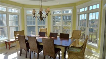 Orleans Cape Cod vacation rental - The dining area overlooks the pool and conservation area