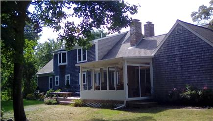 West Falmouth Village Cape Cod vacation rental - Huge back yard with direct access to bike path, bogs, trails.