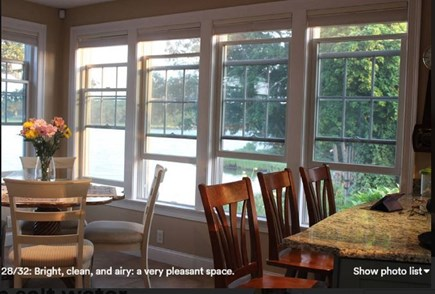 Pocasset, Bourne Pocasset vacation rental - Dining table and counter top seating. Bright, airy, and pleasant.