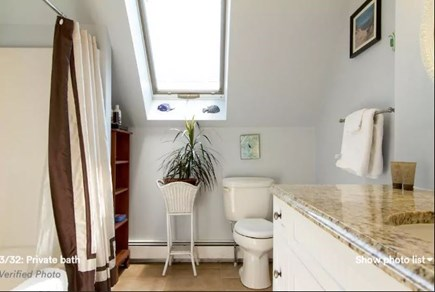 Pocasset, Bourne Pocasset vacation rental - Guest bath with tub, tile floors, and granite countertop.