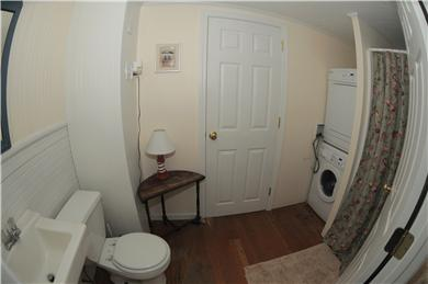 East Sandwich Beach.  Just off Cape Cod vacation rental - Bathroom with shower and washer/dryer on first floor.