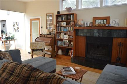 Wellfleet Cape Cod vacation rental - Living Room - Fireplace, desk
