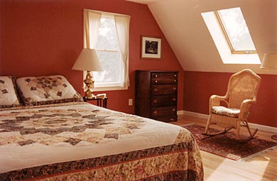 Dennis Port Cape Cod vacation rental - Bedroom with Queen-size bed , sky lights and relaxing rocker