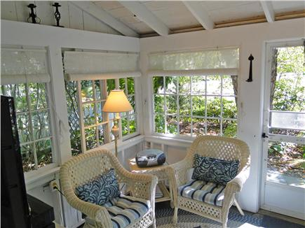 Chatham Cape Cod vacation rental - Sunroom exit to gardens, picnic and children's play areas