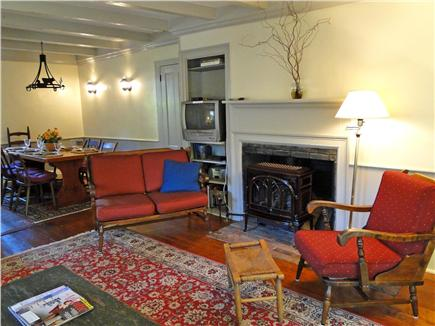 Chatham Cape Cod vacation rental - Keeping Room fireplace view and Borning Room dining alcove