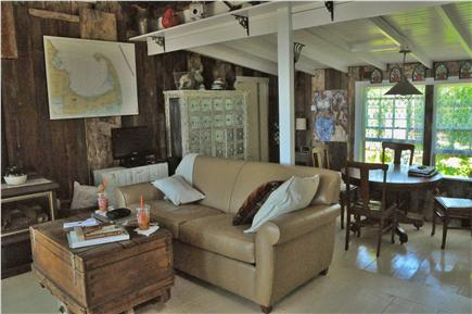 North Eastham Cape Cod vacation rental - Living room with an ocean front view.