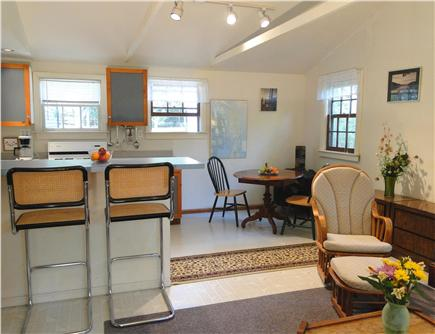 North Eastham Cape Cod vacation rental - Living room with vaulted ceiling fan, skylight