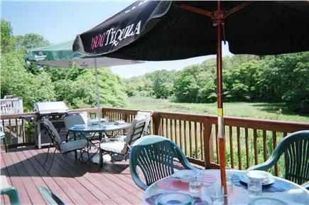 West Yarmouth Cape Cod vacation rental - Large 11 1/2' x 26 1/2' Deck overlooks protected wildlands & Bay.