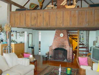 Provincetown Cape Cod vacation rental - Balcony and old fireplace