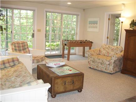Brewster Cape Cod vacation rental - Downstairs family room, walk out to yard
