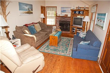 East Orleans Cape Cod vacation rental - Living room with Entertainment Ctr.,  Flat screen TV, Fireplace