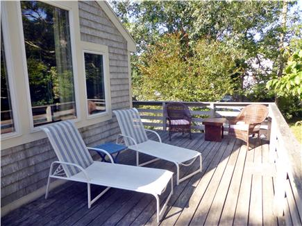 North Eastham - Bayside Cape Cod vacation rental - Sunny back deck is great for your morning coffee and Happy Hour!