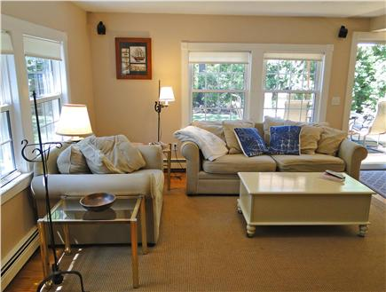South Dennis Cape Cod vacation rental - Living room with slider to deck