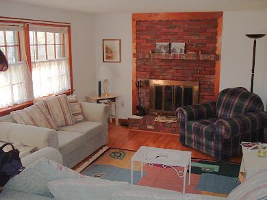 East Falmouth Cape Cod vacation rental - Comfortable living room with fireplace