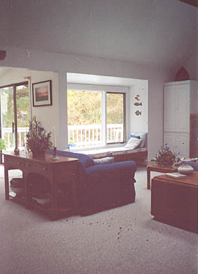 Wellfleet Cape Cod vacation rental - Living room, looking out to deck