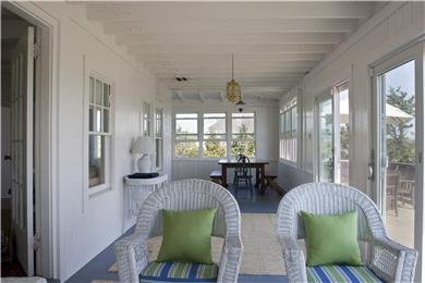 Sagamore Beach, Bourne Sagamore Beach vacation rental - View from sitting area on porch to dining table