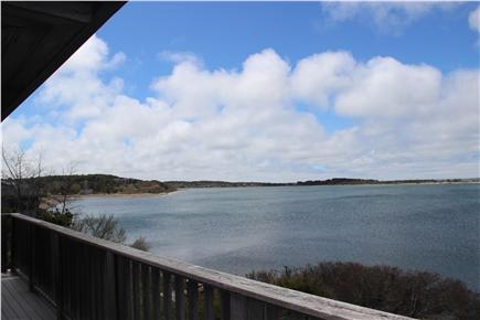 Wellfleet Harbor, on the Bluff Cape Cod vacation rental - View from the top deck looking south at high tide.