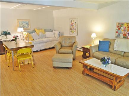 Chatham, Ridgevale Beach Cape Cod vacation rental - Spacious lower level room w/ TV / Blue Ray and slider to yard