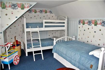 West Dennis Cape Cod vacation rental - Fourth Guest Room with 3 twins with deck