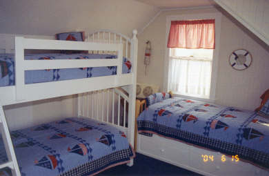 West Dennis Cape Cod vacation rental - Fifth Guest Room with 3 twins with deck