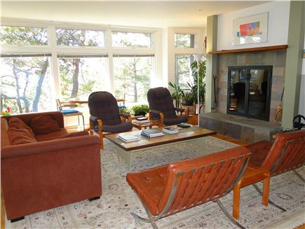 Wellfleet 4 acres on the inner Cape Cod vacation rental - Bright living area with many windows facing water views