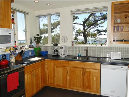 Wellfleet 4 acres on the inner Cape Cod vacation rental - Sunny kitchen with water views