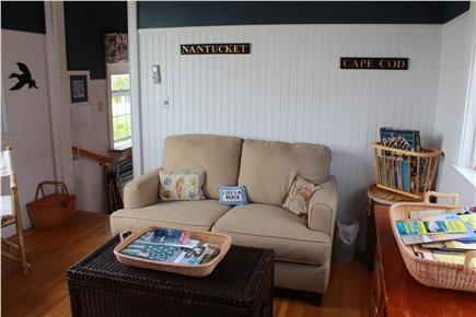 West Yarmouth Cape Cod vacation rental - Great Room relaxing sofa opposite Murphy bed