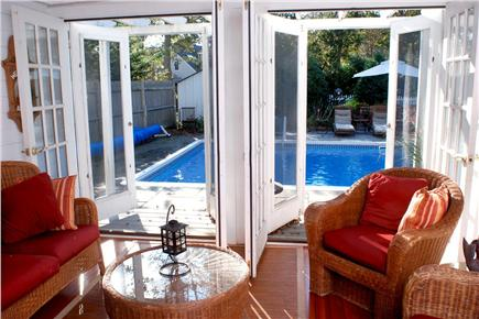 East Falmouth Cape Cod vacation rental - Poolview from three season porch