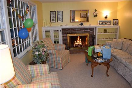 Chatham Cape Cod vacation rental - Relaxing living room with working fireplace