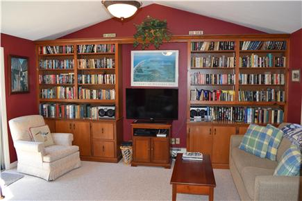 Chatham Cape Cod vacation rental - Family room/library with sliders to private deck