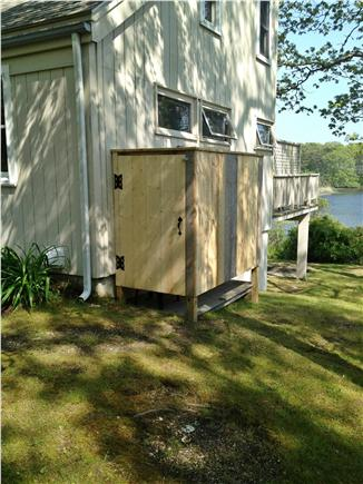 Hyannis Cape Cod vacation rental - Side Yard View of Pond and Outdoor Shower