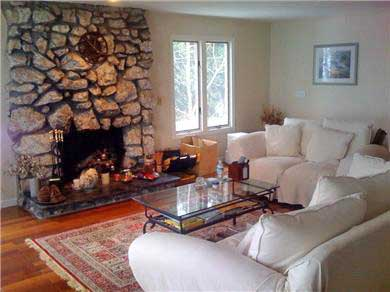 Plymouth, Manomet MA vacation rental - Spacious upstairs living room with fieldstone fireplace