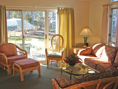 Ocean Edge, Brewster Cape Cod vacation rental - Sunny living room w/ new furnishings, cable TV & slider to patio