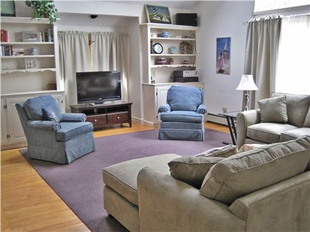 West Dennis Cape Cod vacation rental - Family Room with vaulted ceiling, fireplace, 50'' HDTV & Stereo