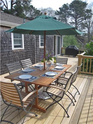 Wellfleet Cape Cod vacation rental - Dining is al fresco on the new deck complete with Weber grill