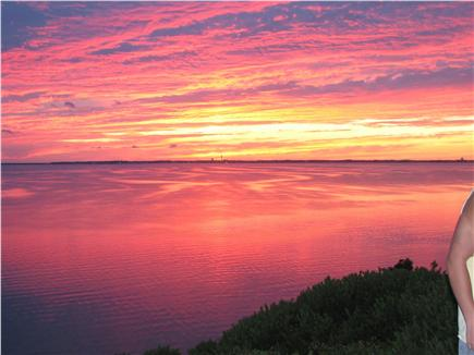 Truro - Corn Hill Cape Cod vacation rental - One magnificent sunset over Ptown - View  from community deck