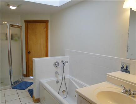 Hyannis Cape Cod vacation rental - Upstairs spacious bath with Jacuzzi & shower, 2 door access