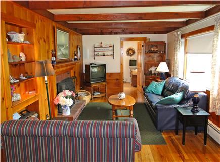 Dennis Cape Cod vacation rental - Living area with TV and bay window