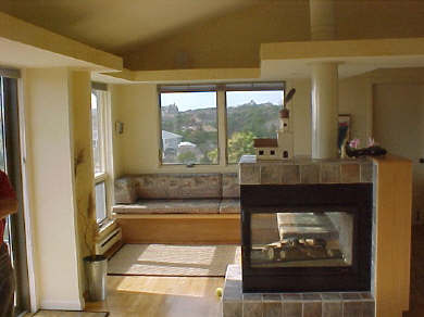 Truro Cape Cod vacation rental - Living room and fireplace