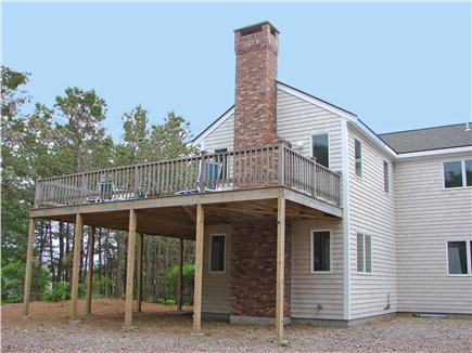 Wellfleet, Indian Neck Cape Cod vacation rental - Main deck at tree level - water views in 3 directions