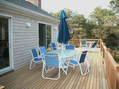 Wellfleet, Indian Neck Cape Cod vacation rental - Dining and relaxing areas on 700 sq ft deck w/ Bay views