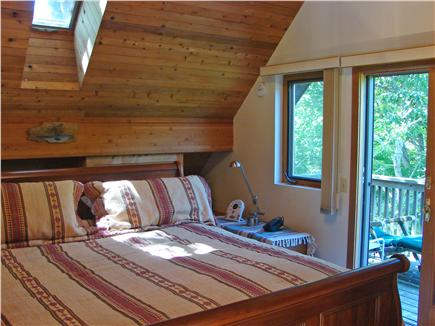 Wellfleet Cape Cod vacation rental - Upstairs King Master with skylight, private deck and bath