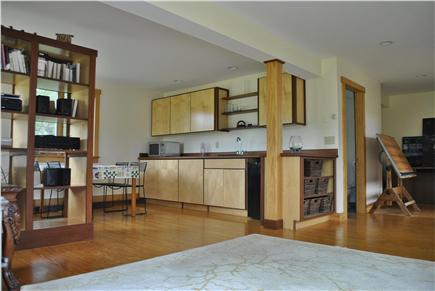 Chilmark, ACROSS FROM QUANSOO FARM!  Martha's Vineyard vacation rental - Downstairs living room with wetbar, fridge, microwave etc