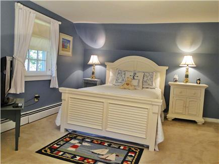 Edgartown Martha's Vineyard vacation rental - Queen bedroom upstairs with TV and extra twin bed