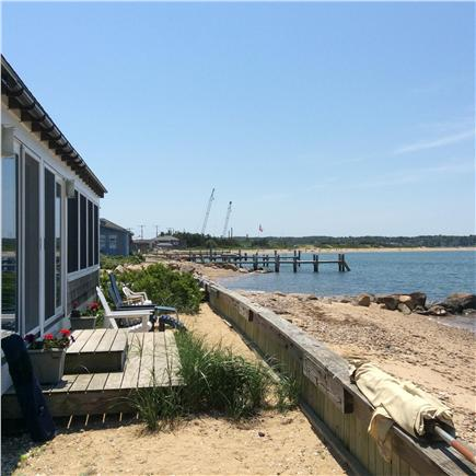 Oak Bluffs Martha's Vineyard vacation rental - Rear of house directly on beach with sweeping water view