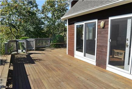 Katama - Edgartown Martha's Vineyard vacation rental - Wraparound mahogany deck...teak table and chairs w/webber grille