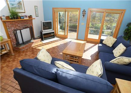Katama - Edgartown Martha's Vineyard vacation rental - Spacious living room with french doors  opening to outside deck