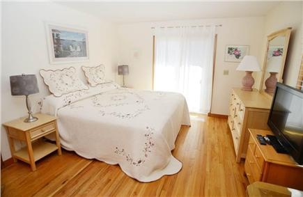 Katama - Edgartown Martha's Vineyard vacation rental - 1st flr king bedroom with private access to deck. Flat screen TV