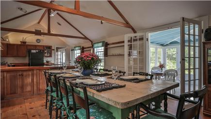 Chappaquiddick, Edgartown Martha's Vineyard vacation rental - Country kitchen and dining room with cathedral ceiling